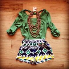 Love the patterned shorts with the green top.