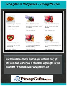 Pinaygifts is the leading flower shop offers you to send gifts to Philippines for every occasion like marriage, birthday, Valentine's Day and many more occasions. For more detail please visit: http://pinaygifts.com