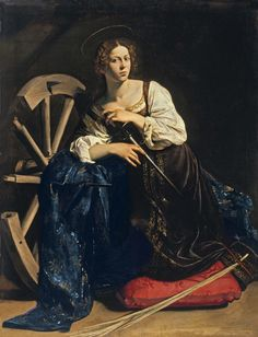 Michelangelo Merisi da Caravaggio, known as Caravaggio (1571-1610) ~ Saint Catherine of Alexandria ~ ca.1598 ~ Oil on canvas ~ Museo Thyssen-Bornemisza, Madrid ~ Caravaggio used Fillide Melandroni as a model for at least 3 more of his paintings, including this one.She was involved with Ranuccio Tomassoni, whom it is believed was Fillide's pimp. In 1606, Caravaggio was charged with Tomassoni's murder, possibly due to an argument over Fillide, with whom Caravaggio was romantically involved.