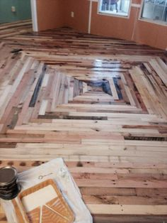 Simple Design Of Wooden Pallet Flooring