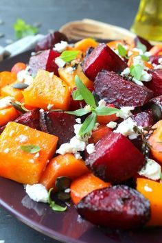 Roast Beet Butternut Basil Goat Cheese Salad. Packed with superfood nutrients, flavour and a feast for the eyes, this is a DELICIOUS, easy salad that will wow your guests   berrysweetlife.com
