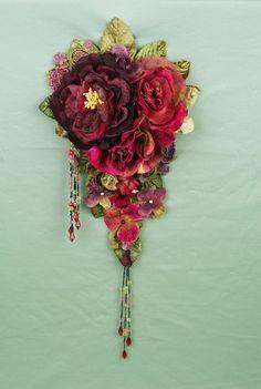 Velvet floral adornment. $135.00, via Etsy.