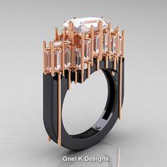 Modern Gothic 14K Black Rose Gold Emerald and Baguette Cut