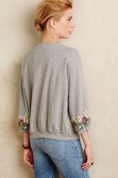 Embroidered Sweatshirt Jacket - anthropologie.com