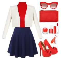 """""""Red, white & blue"""" by haya194 ❤ liked on Polyvore featuring QNIGIRLS, WearAll, BCBGMAXAZRIA, JustFabulous, Lanvin, Essie, Maybelline, rms beauty, Alexander McQueen and michael marcus cosmetics"""