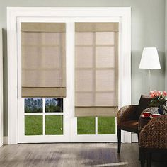 Chicology Roman Shade Jute Privacy Nevada Timberwolf Grey  Curtains For French Doors
