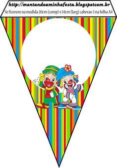 Montando minha festa: Patati Patata Clown Party, Circus Birthday, Circus Theme, Paper Bookmarks, Circus Clown, Banner Template, Family Kids, Baby Boy Shower, Mickey Mouse