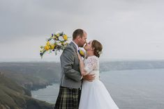 Charlotte and her beloved Dan after their amazing wedding in St. Agnes - in a Marquee overlooking this epic view! We all missed the Carnival this year - but I'd say it was well worth it ; Wedding Trends, Wedding Styles, St Agnes, Wild And Free, Free Wedding, Cornwall, Weddingideas, Real Weddings, Dan