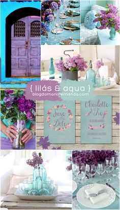 Decoração de Casamento : Paleta de Cores Lilás e Aqua | http://blogdamariafernanda.com/decoracao-de-casamento-paleta-de-cores-lilas-e-aqua