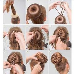 bun with braided decoration