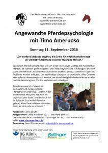 """Kurs """"Angewandte Pferdepsychologie"""" bei dem RFV Ammerbuch e.V. @ Reithalle des…"""