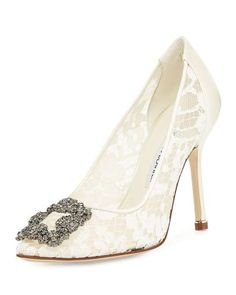 Love the Manolo Blahnik Hangisi Floral Lace Crystal-Toe Pump on Wantering.