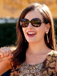 Camilla Belle. Hair, sunglasses, makeup.