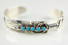 Native American Navajo Sterling Silver Turquoise Cuff Bracelet By Darleen Begay