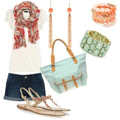 coral and mint, on Polyvore