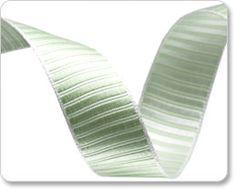 Pastel and Green Striped Satin Ribbon