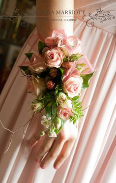 Dusky pink rose and berry Bridal Wrist Corsage