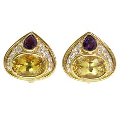 Marina B Amethyst Citrine Diamond gold Earrings | From a unique collection of vintage clip-on earrings at https://www.1stdibs.com/jewelry/earrings/clip-on-earrings/