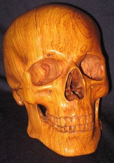 ✿ Wood Human Skull sculpture hand carved in Cocobolo ✿