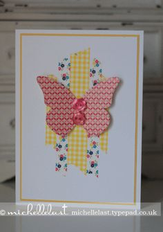 Washi-tape, Gingham Gardenm Butterfly Die, Simple Card, Michelle Last, Stampin' Up