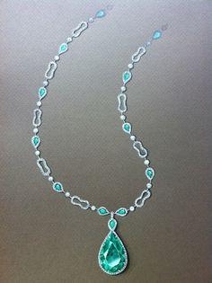 drawing emerald necklace by Anastassiya Korzhova, via Behance