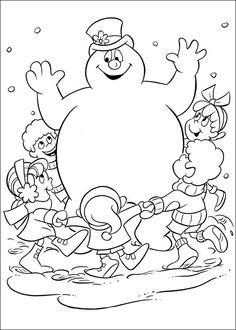Frosty the Snowman Fargelegging for barn. Tegninger for utskrift og fargelegging nº 13