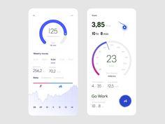 Trackr — Activity Dashboard & Tracking in Progress (Blue) by Sandro Tavartkiladze for Awsmd on Dribbble App Ui Design, Mobile App Design, Interface Design, Mobile Ui, Dashboard App, Ui Design Inspiration, Photoshop, Branding, Screen Design