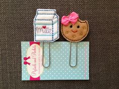 Felt Milk and Cookie Paperclip Set, Cute Bookmarks, Planner, Organizer, Filofax, Calendar