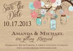 Rustic Mason Jar Tree Save the Date Card  by PartyPopInvites, $17.00