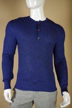 $1495 Tom Ford 100% Silk Sweater sz 50 Large Blue White Cardigan Shirt Gucci #TomFord #12Zip