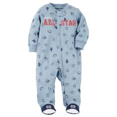 d1e091d3c Toddler Boy Carter s Striped Football Fleece Footed Pajamas ...