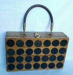 Vintage Dovetail Box Purse Wood Black Polka Dots Handbag Clasp Cigar 10x6x2 3/4  #Unbranded #Box