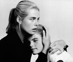 Margaux and Mariel Hemingway on the set of Lipstick, photographed by Francesco Scavullo, 1975.