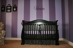 Purple stripes make everything alright. #purple #nursery #stripes