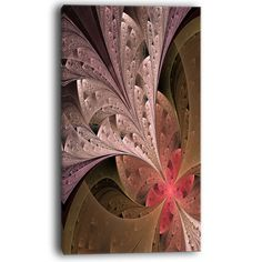 "DesignArt Beautiful Fractal Flower in Beige Graphic Art on Wrapped Canvas Size: 32"" H x 16"" W x 1"" D"