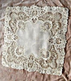 My grandmother used lace hankies as did all the women of that age. Needle Lace, Bobbin Lace, Lace Ribbon, Lace Fabric, Antique Lace, Vintage Lace, Crochet Video, Fru Fru, Vintage Handkerchiefs