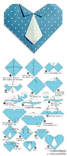 Origami diagram of the Necktie heart by Fumiaki Shingu. Here you will find how to fold origami Necktie heart by Fumiaki Shingu. Origami Design, Instruções Origami, Origami And Kirigami, Origami Paper Art, Diy Paper, Paper Crafts, Heart Origami, Simple Origami, Origami Envelope