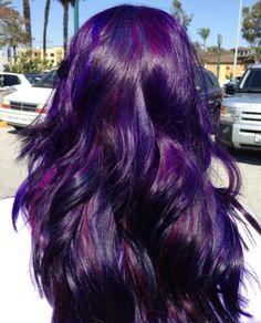 Long Layered Purple Hair