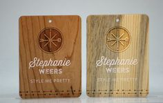 Love these unique engraved color printed name tags. Wood Business Cards, Custom Business Cards, Fort Collins, Name Tags, Custom Engraving, Bamboo Cutting Board, 50th, How To Memorize Things, Names