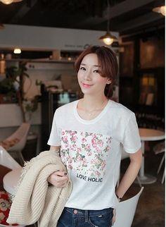 Cute Round-neck Printing Short Sleeve T-shirt White