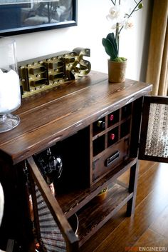 DIY bar with wine fridge and vintage boxes. homedecordiyDIY bar with wine fridge and vintage boxes. Diy Bar, Diy Home Bar, Bars For Home, Diy Home Decor, Cabinet Furniture, Bar Furniture, Furniture Plans, Furniture Movers, Armoire Bar