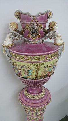 Gerbing & Stephan grosse Majolika Blumensäule Vase Jugendstil Art Nouveau