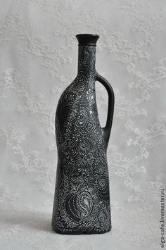 Интерьерная бутылка с ручной росписью. Handmade.