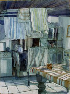 'Washing Drying Over the Stove' - by Caroline Johnson   An English Artist Back From Brittany.