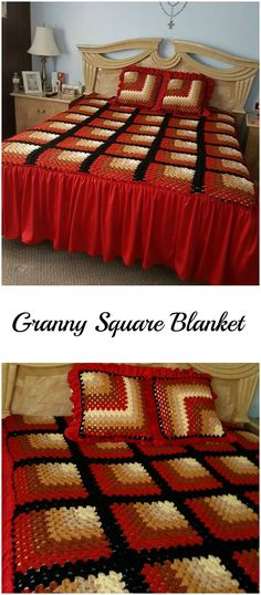 Crochet Mitered Granny Square Blanket