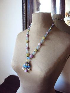 Vintage 1940s Pastel Beaded Necklace with by primitivepincushion, $32.99
