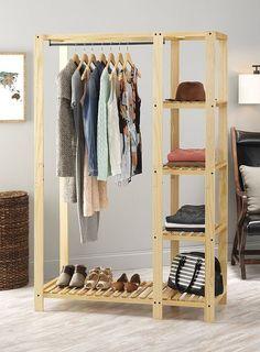 Amazon.com: Whitmor Slat Wood Wardrobe: Home & Kitchen
