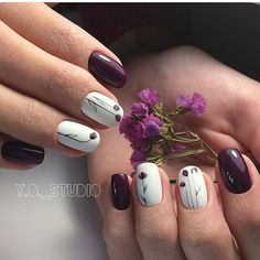 Give fashion to your nails by using nail art designs. Worn by fashionable personalities, these kinds of nail designs will incorporate instant charm to your outfit. Get Nails, Fancy Nails, Trendy Nails, Hair And Nails, Plum Nails, Purple Nails, Nagel Stamping, Manicure E Pedicure, Nagel Gel