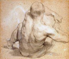 Homme assis penche vers l'arriere dessin crayon rehausse de craie blanche…