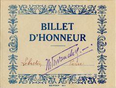 Billet d'honneur - SEIPDEP - Lebreton Pierre - circa 1950 (from http://souvenirsdecole.com/picture?/140) Imprimeur SEIPDEP